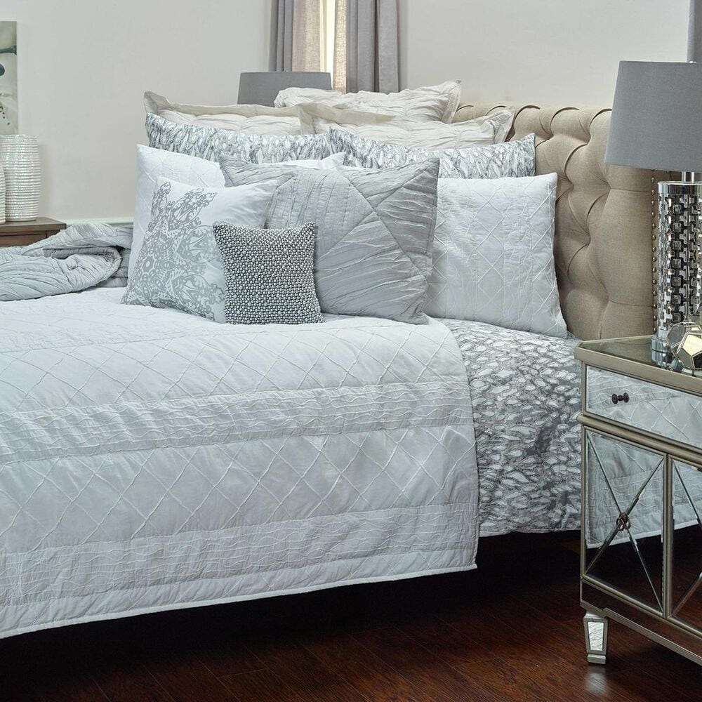 """Rizzy Home Claire 20"""" x 36"""" King Sham in White, , large"""