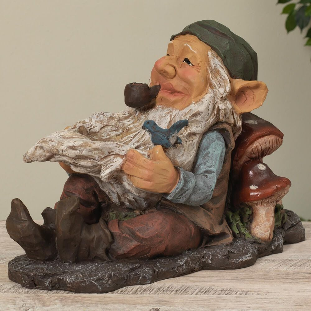 """The Gerson Company 16.1"""" Gnome with Bird Feeder in Multicolor, , large"""