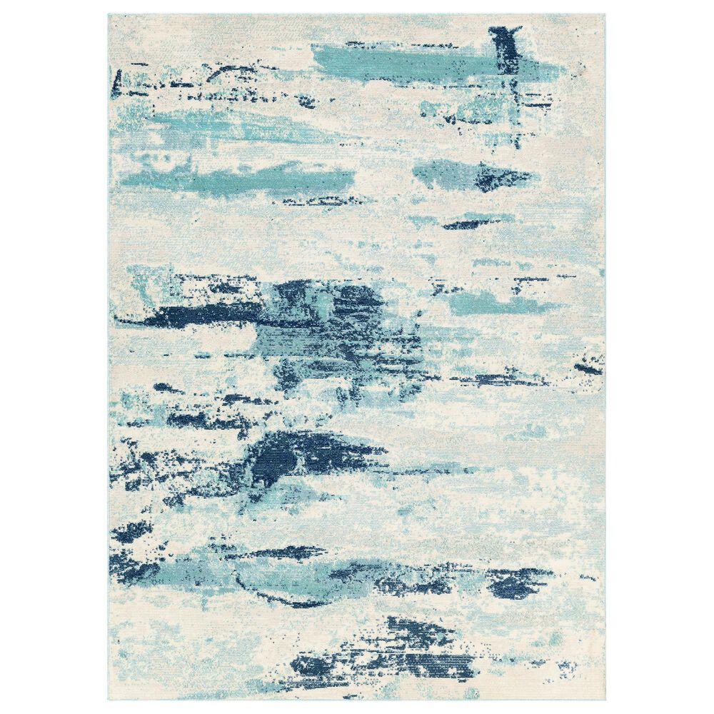"Surya Bodrum 6"" x 9""11"" Ivory, Gray, Navy, Aqua and Blue Area Rug, , large"