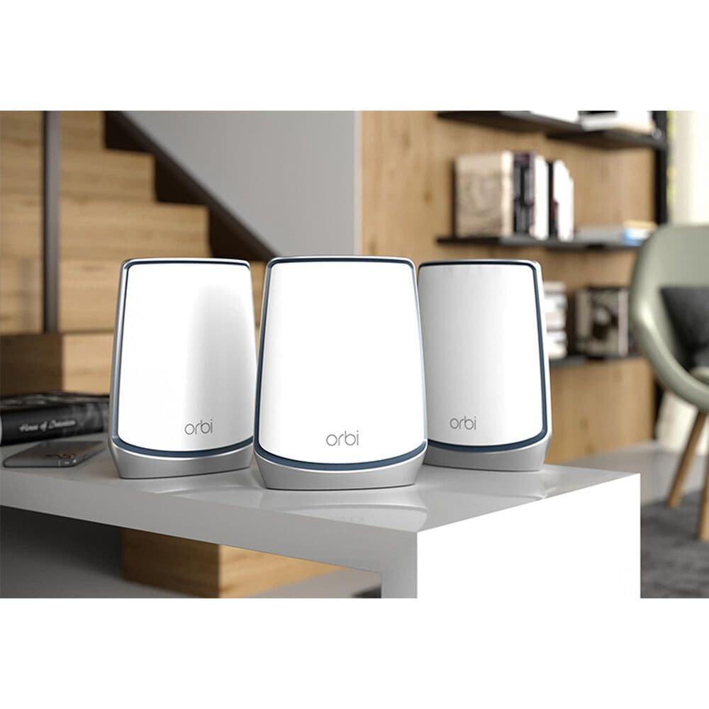 NETGEAR Orbi Tri-Band WiFi 6 Mesh System, 6Gbps, Router + 2 Satellites in White, , large