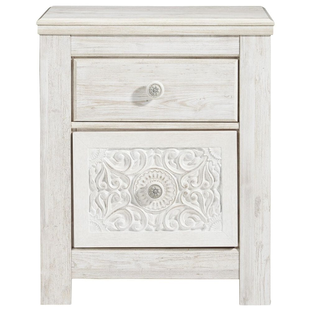 Signature Design by Ashley Paxberry 2 Drawer Nightstand in White Wash, , large