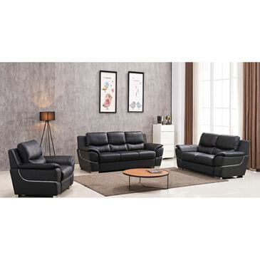 Titanic Furniture Breathable Faux Leather Sofa in Black, , large