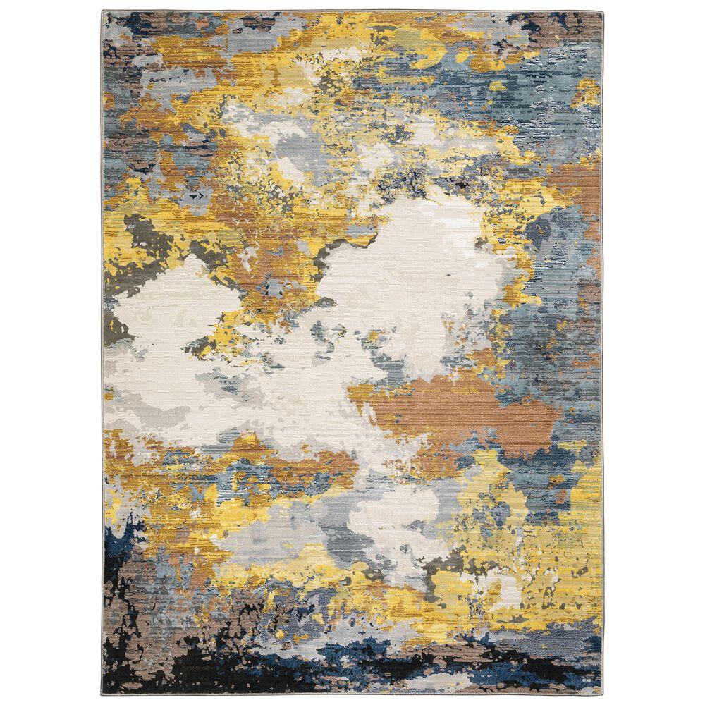 """Oriental Weavers Caravan Clouds Prevail 3'3"""" x 5' Yellow and Blue Area Rug, , large"""