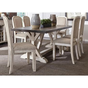 Belle Furnishings Willowrun 7-Piece Dining Set in Rustic White, , large