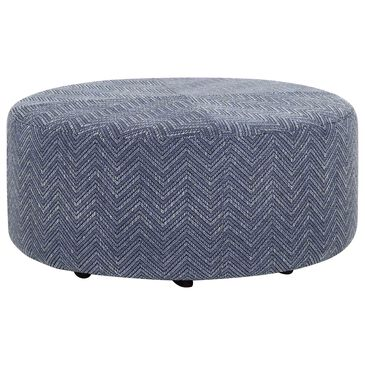 Moore Furniture Indy Round Ottoman in Essex Denim, , large