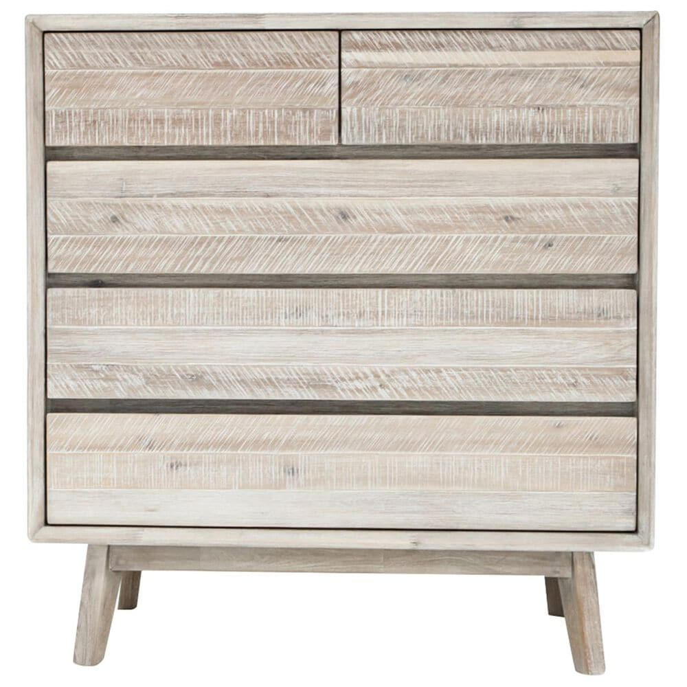 37b Gia 5 Drawer Chest In Gray Mix Distressed Nebraska Furniture Mart