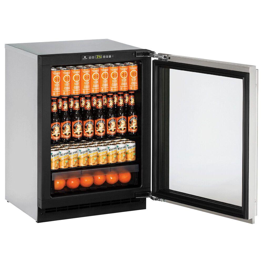 "U-Line 4.9 Cu. Ft. 24"" Beverage Center Glass Door in Stainless Steel, , large"