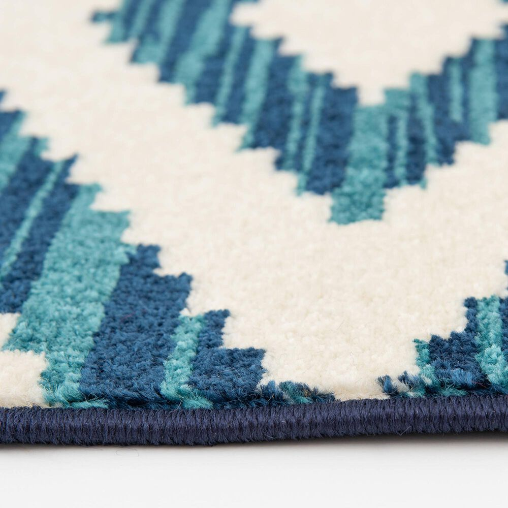 """Central Oriental Terrace Tropic Scalene 2345NPEC.084 7'10"""" x 9'10"""" Snow and Sapphire Area Rug, , large"""