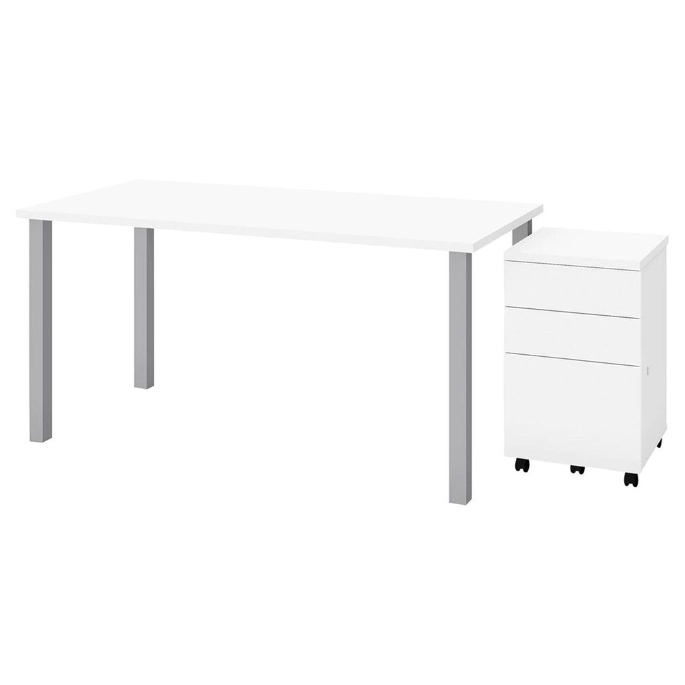 Bestar 2-Piece Table Set in White, , large