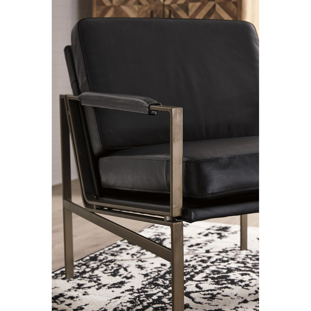 Signature Design by Ashley Puckman Leather Accent Chair in Black, , large