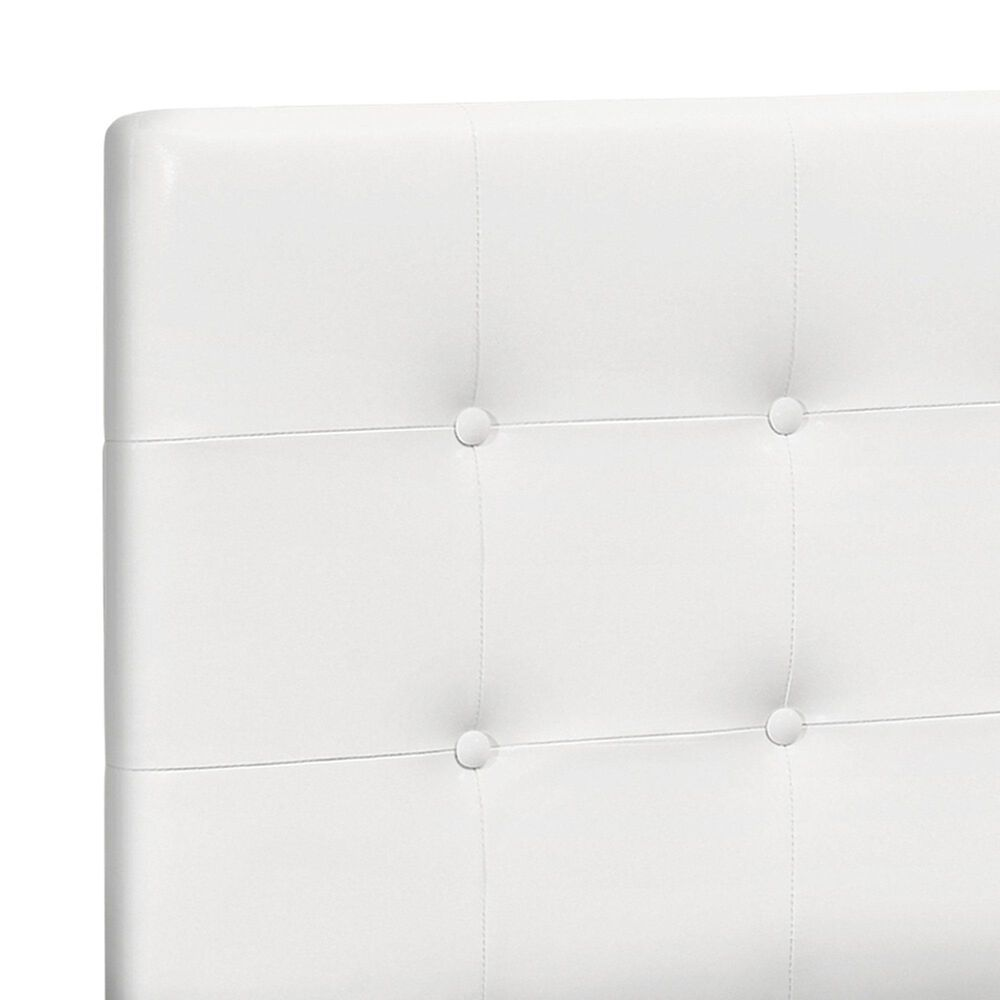 Monarch Specialties Queen Button Tufted Headboard in White, , large
