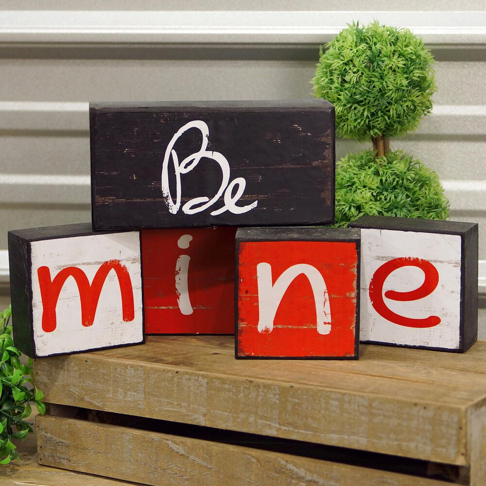 """VIP Home and Garden American Mercantile """"Be Mine"""" Blocks (Set of 5), , large"""