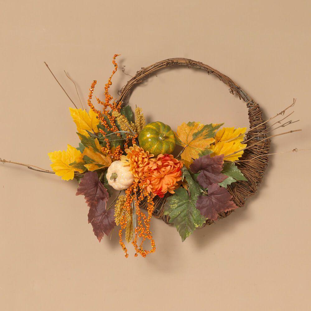 "The Gerson Company 20"" Cornucopia Wreath with Pumpkins & Berries in Orange, , large"