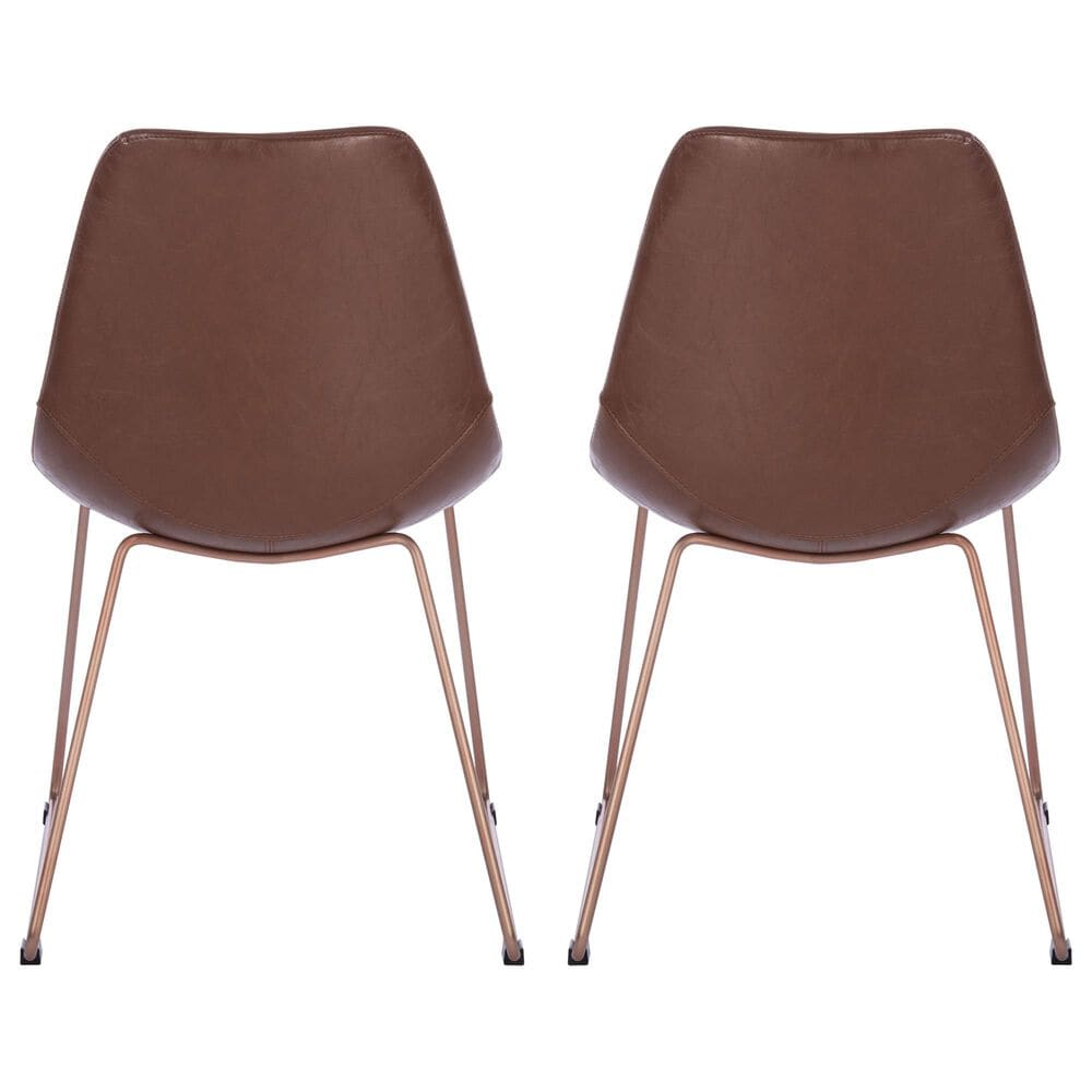Safavieh Dorian Dining Chair in Light Brown/Copper (Set of 2), , large