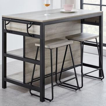 Steve Silver Carson Kitchen Island with 2 Stools in Driftwood and Black, , large