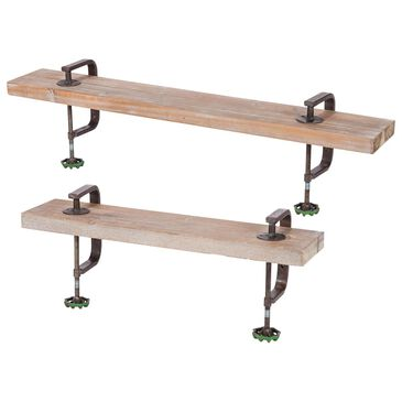 The Gerson Company Metal C-Clamp Shelves in Brown (Set of 2), , large