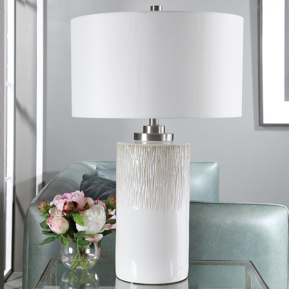 Uttermost Georgios Table Lamp in Aged White and Brushed Nickel, , large