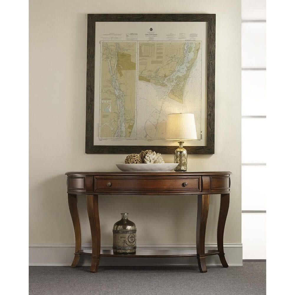 Hooker Furniture Brookhaven Sofa Table with Drawer in Distressed Medium Cherry, , large