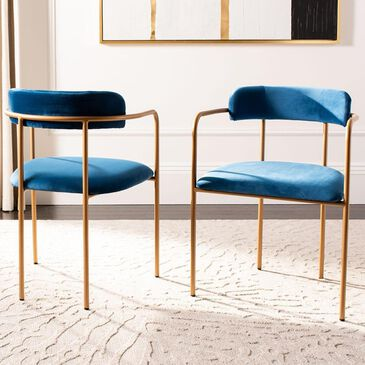 Safavieh Camille Barrel Back Chair in Navy and Gold (Set of 2), , large