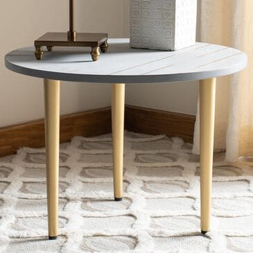 Safavieh Tezza Coffee Table in Grey/Brass, , large