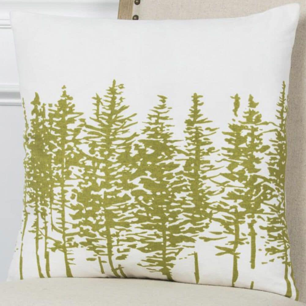 """Rizzy Home 18"""" x 18"""" Pillow Cover in White with Green Trees, , large"""