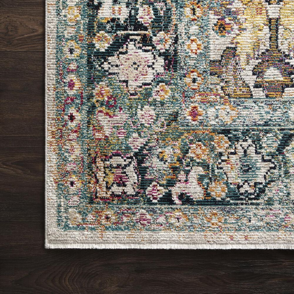 """Loloi Silvia SIL-01 2'6"""" x 8' Stone and Teal Runner, , large"""