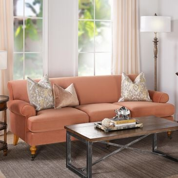 Jennifer Taylor Home Alana Lawson Recessed Arm Sofa Metal Casters in Orange, , large