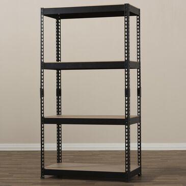 Baxton Studio Cody 4-Shelf Multipurpose Shelving Rack in Black, , large