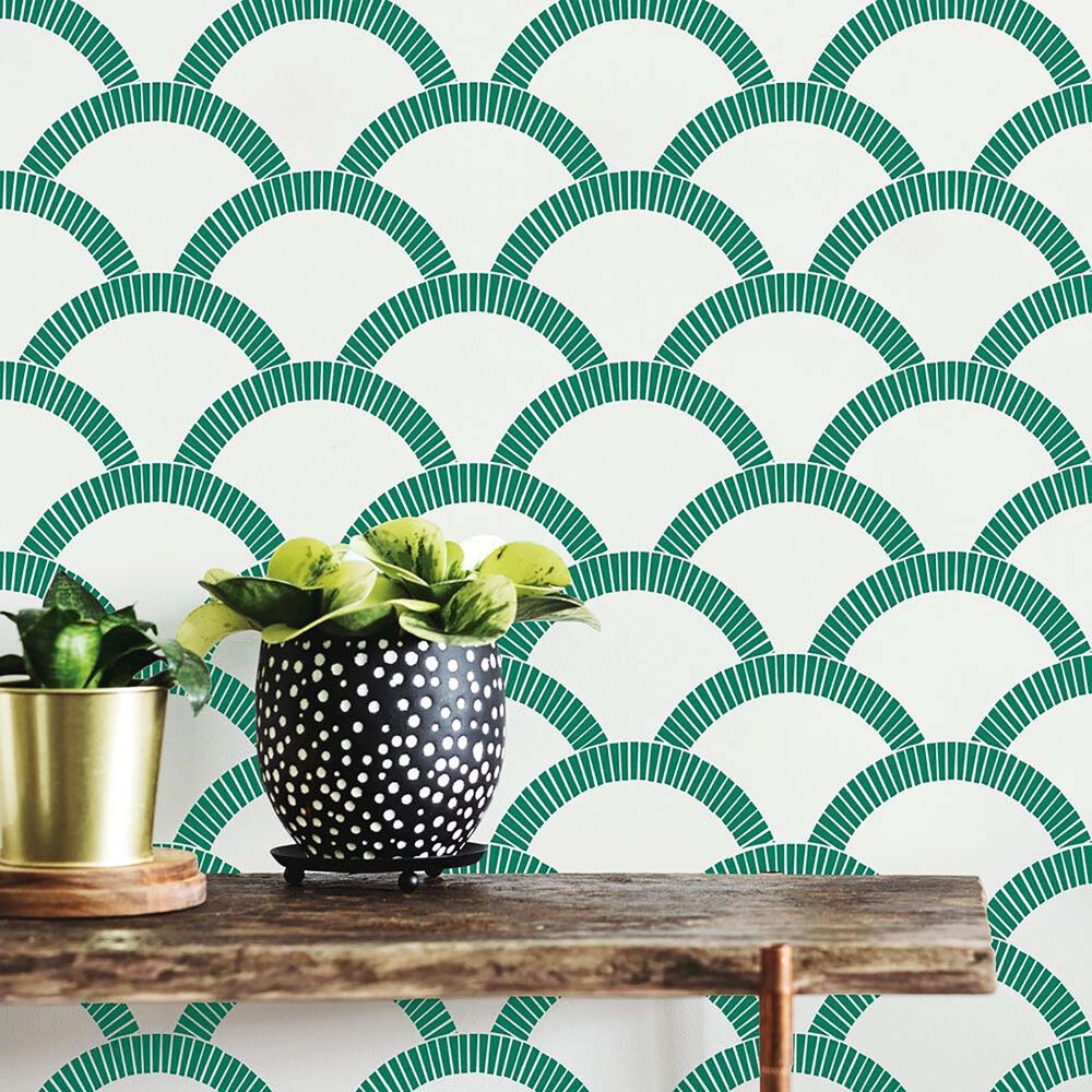 Tempaper Mosaic Scallop Emerald Green Peel and Stick Wallpaper, , large