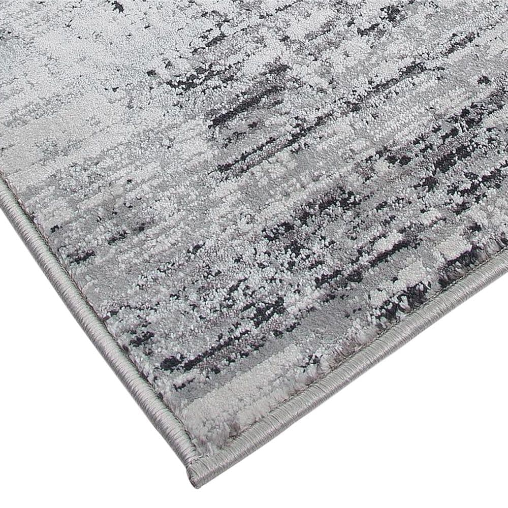 Harounian Rugs Sunbrella S10-16D 8' x 11' White and Charcoal Area Rug, , large