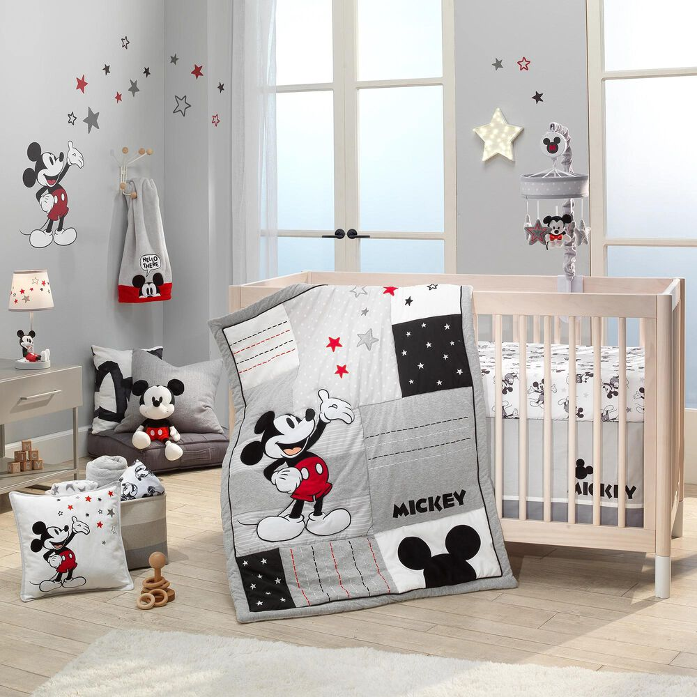 Lambs and Ivy Mickey Mouse 3-Piece Crib Bedding Set in White, Black and Grey, , large