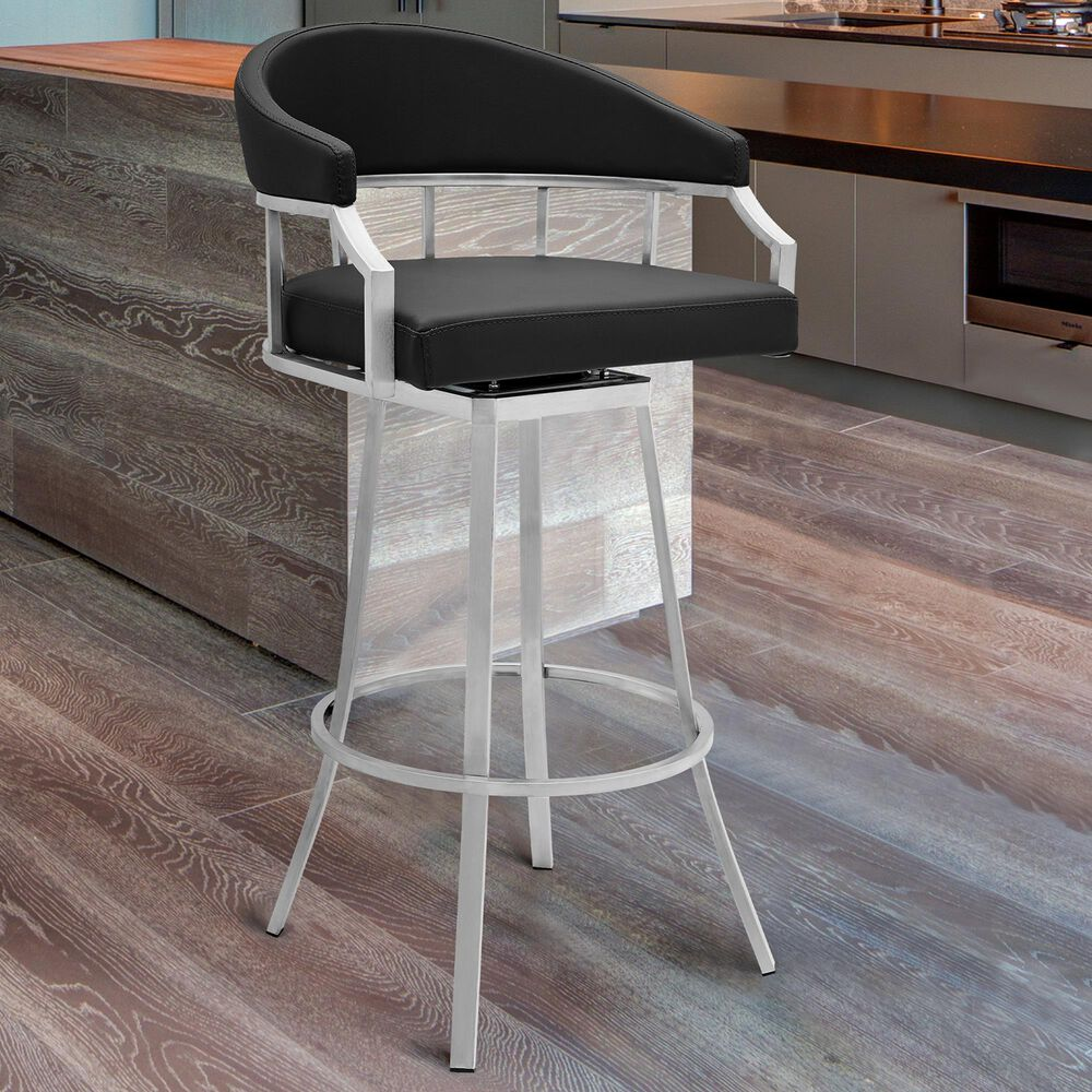 """Blue River Palmdale 26"""" Swivel Counter Stool in Black, , large"""