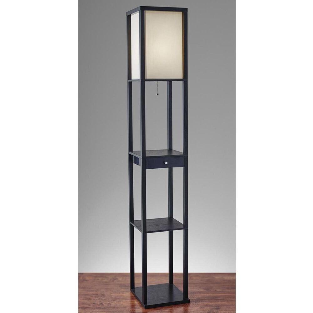 Adesso Parker Shelf Floor Lamp with Drawer and Shelves in Black, , large