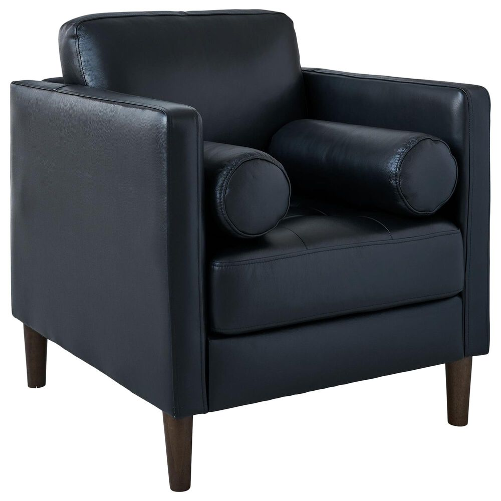 Mayberry Hill Stockholm Leather Chair in Fiero Black, , large
