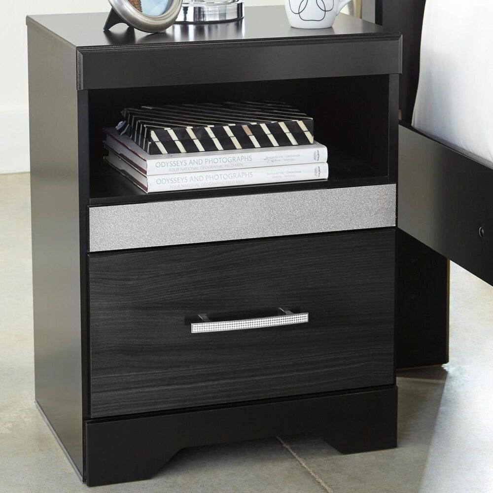 Signature Design by Ashley Starberry 1 Drawer Nightstand in Black and Silvertone, , large