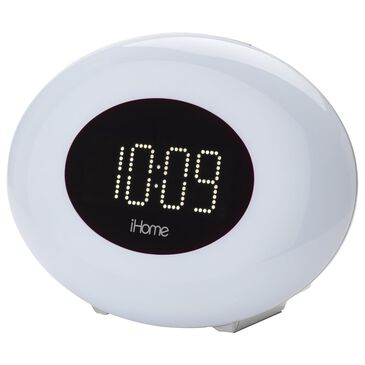iHome Color Changing Alarm Clock with FM Radio and USB Charging in Silver, , large