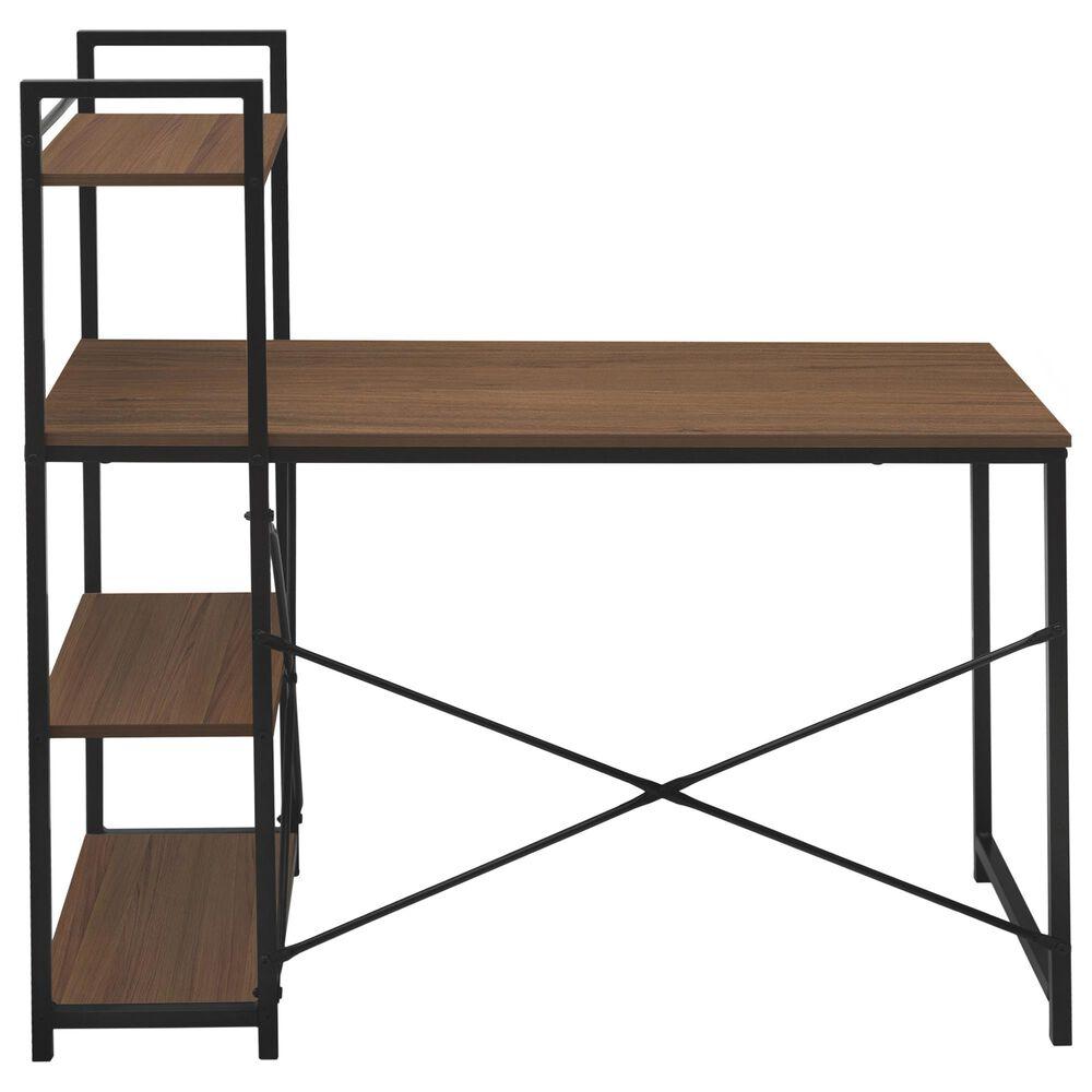 Regency Global Sourcing Niche Soho Desk with Bookshelf in Urban Walnut/Black, , large