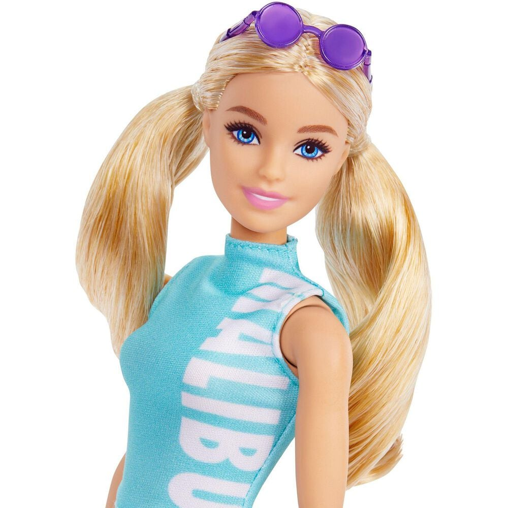 Mattel Barbie Fashionistas Doll with Long Blonde Pigtails Wearing Teal Sport Top, Patterned Leggings, Pink Sneakers and Sunglasses, , large