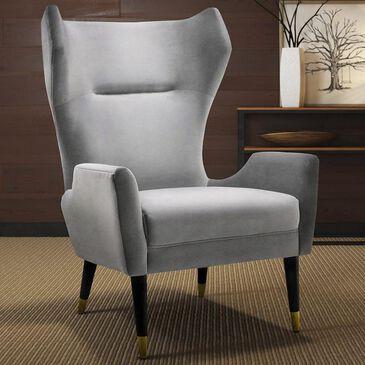Tov Furniture Logan Velvet Chair in Grey, , large