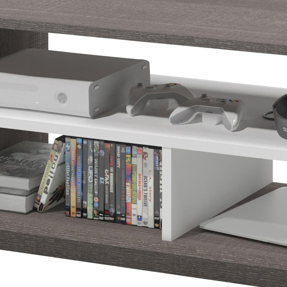 Bestar Small Space 2-Piece Entertainment Set in Bark Gray and White, , large