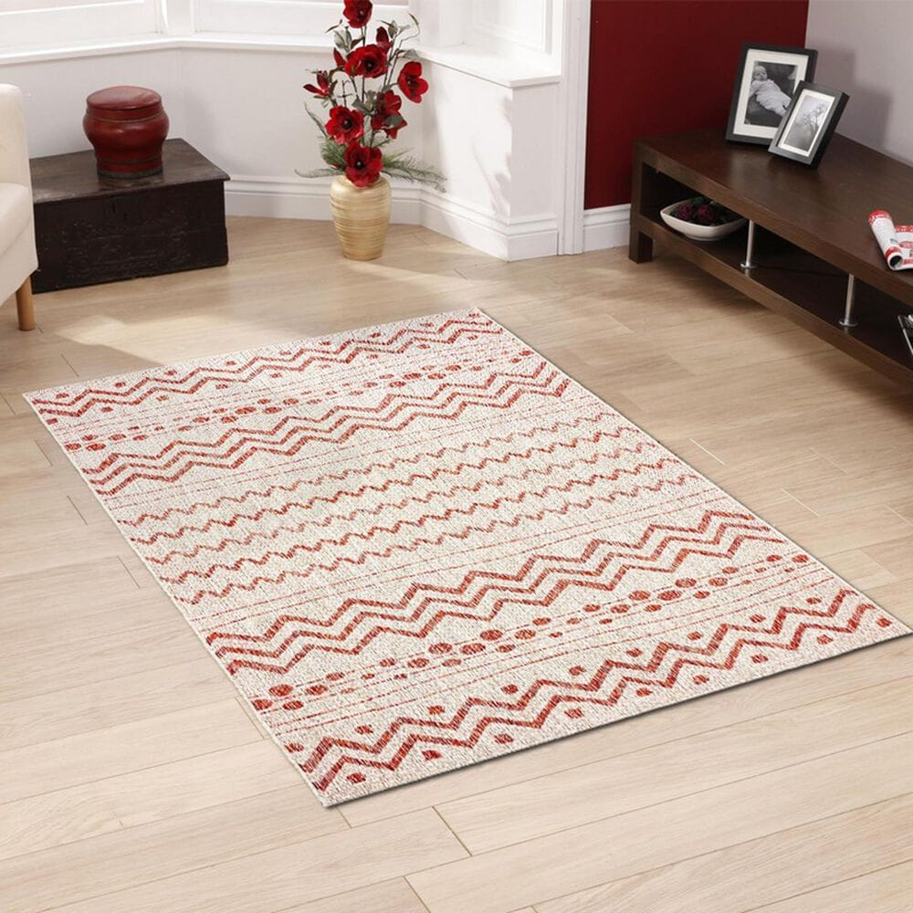 L&R Resources Sun Shower 8' x 10' Beige and Red Indoor/Outdoor Area Rug, , large