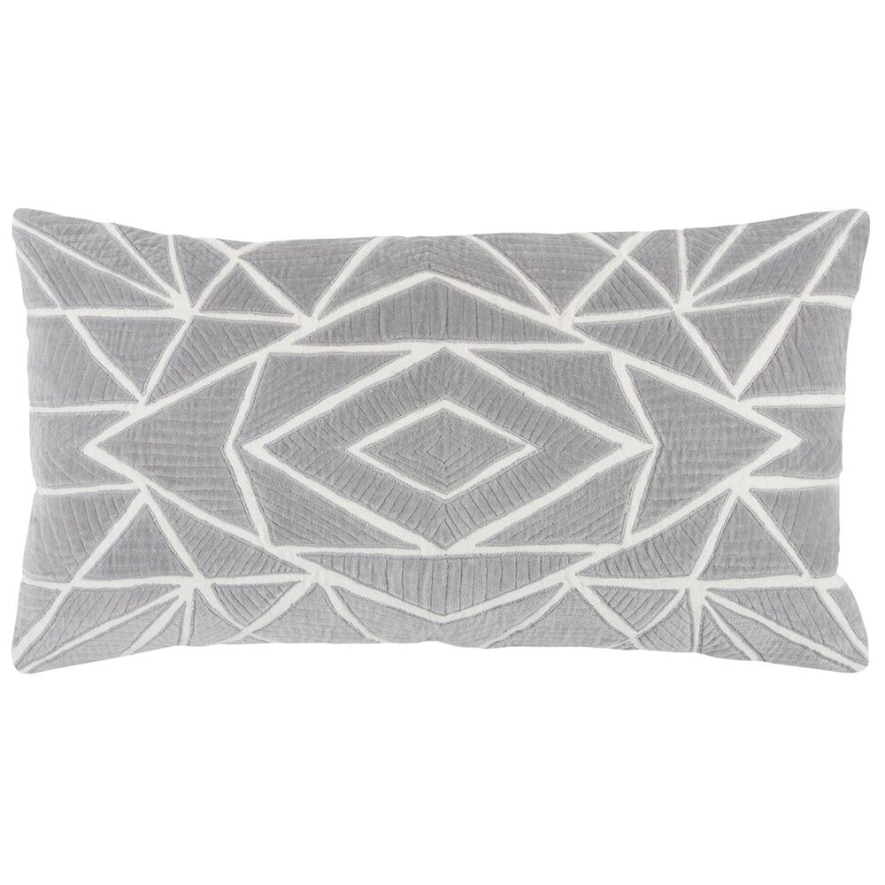 """Rizzy Home 14"""" x 26"""" Pillow Cover in Light Grey and White, , large"""