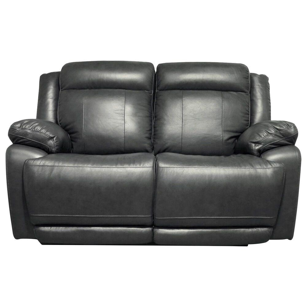 Dawson Lane Evo Leather Recliner Loveseat with Power Headrest in Graphite, , large