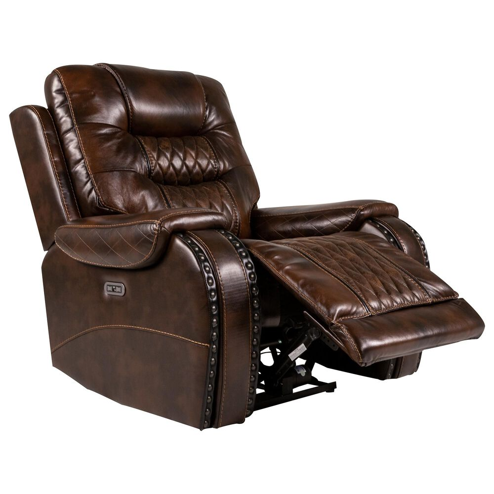 Prime Resources International Rhythm Leather Power Recliner with Power Headrest in Bronze Walnut, , large