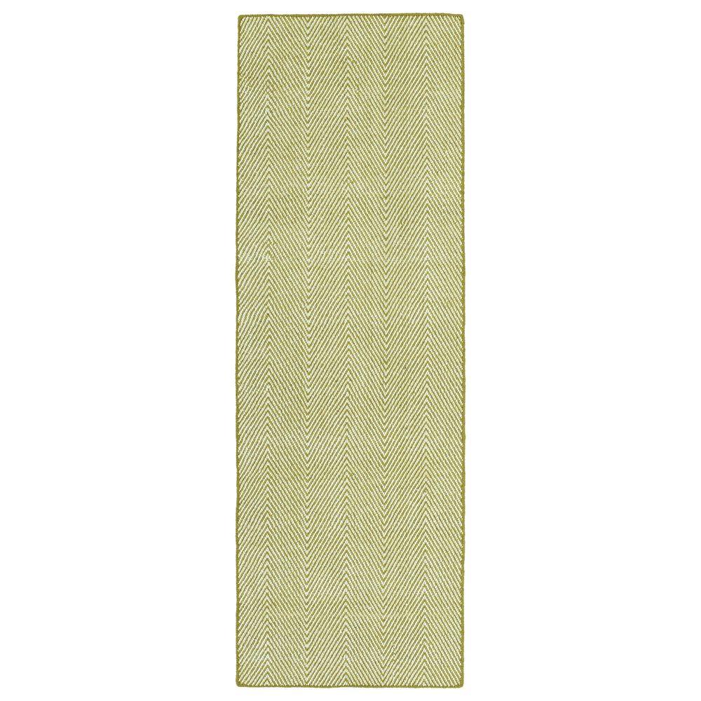 Kaleen Rugs Ziggy ZIG01-70 2' x 6' Wasabi and White Indoor/Outdoor Area Rug, , large