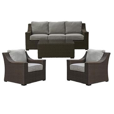 Amber Shores Newport 4-Piece Conversation Set in Gray and Brown, , large