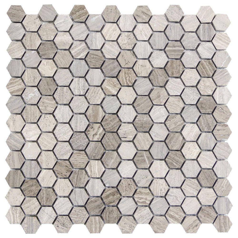 "Emser Metro Gray 1"" x 1"" Hexagon on 12"" x 12"" Limestone Mosaic Sheet, , large"