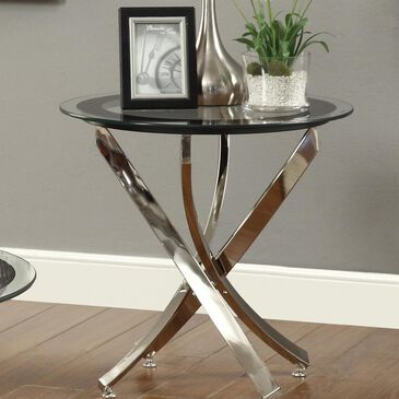 Pacific Landing End Table with Glass Top in Chrome, , large