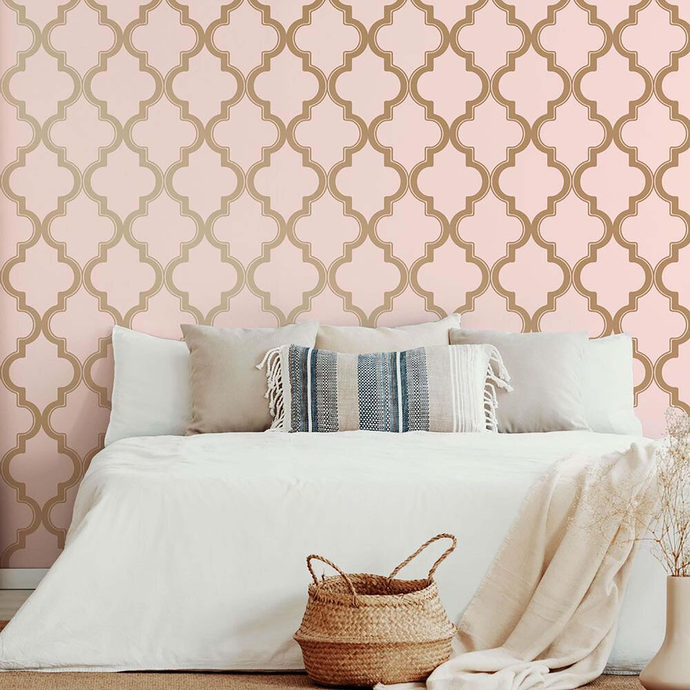 Tempaper Marrakesh Pink & Metallic Gold Peel and Stick Wallpaper, , large
