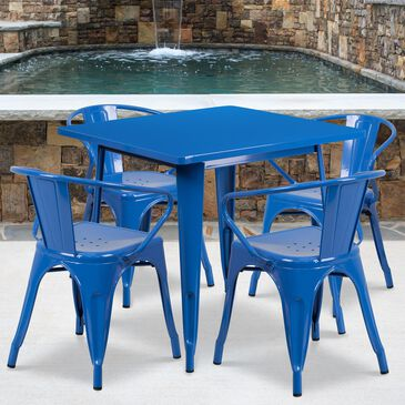 Flash Furniture 5-Piece Square Bistro Table Set with Arm Chairs in Blue, , large